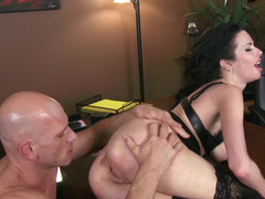 Raunchy dark haired grown-up whore gets nailed by her bald lover