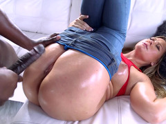 Awesome white babe gets blacked by brutal Ebony lover