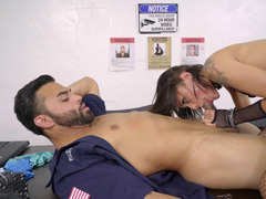 A brunette that loves giving blowjob is getting penetrated on the desk