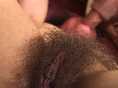 Shaggy old bush fucked by the fit fella with a huge flag pole