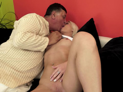 A blonde that loves grown-up cocks is getting fucked by grandpa