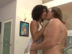 A black girl that has a underweight body is fucked by three dudes