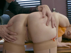 Boss inserts big fuck pole in both of big-boobied secretary's holes