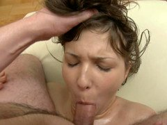 Underweight bitch gets oiled up and used by her well endowed masseur