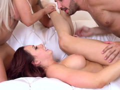 Three broads are doing a hot foursome with a well endowed dude