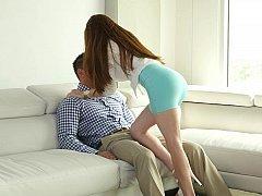Smoking hot horny female harasses boyfriend for sex