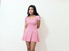 Good-looking petite Latina stripping on camera