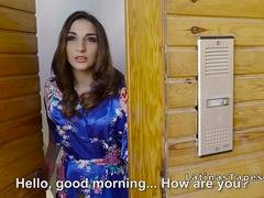 Latina housewife gets down and dirty salesman
