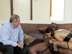 A hot harlot that loves black fuck pole is fucking before a cuckold