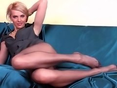 Underweight girl with long pantyhose legs