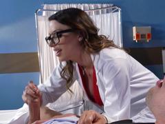 Aroused doctor Juelz Ventura helps her patient cum