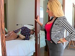 Cute blonde mom watches her daughter fuck