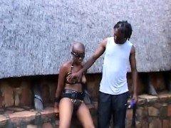 Kinky African couple bangs hard in their backyard