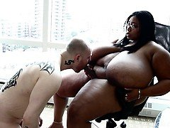Real bbw Cotton Candi has Straight Lad Submit to her Strap on