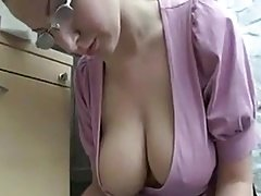 A Blonde with First-class Saggy Tits Working