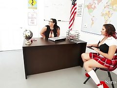 Teachers Sara Jay & Angelina Castro Have an intercourse Pupil Gia in Class!
