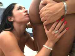 Brazilian girls eating ass and sucking dick in a sexy threesome