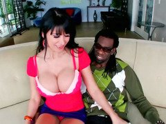 Hot hoe Eva Karera tastes a large black monster flag pole
