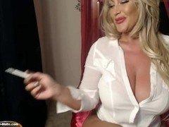 Big Tittied Eager mom is a Sexy Smoker