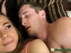 Curious Teen Sister Cons Sleepy Stepbro Into Sex
