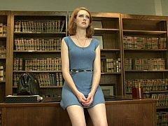Hot librarian enjoys vibrator sex on table