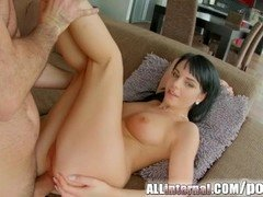 Each and all Internal dark haired sweetie takes an anal creampie