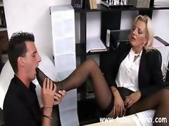 Explicit Italian MIF with a sweet happy button makes her assistant do her