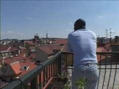 Joachim and Sarah Blue on a balcony