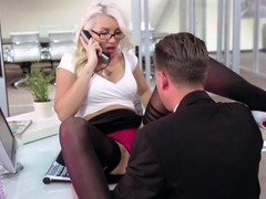A blonde secretary is getting her tight cunilingus and entered