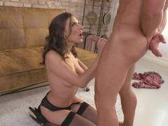 A chick does a blow job with her pretty lips and she does cock riding