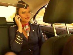 Fucking the flight lascivious stewardess