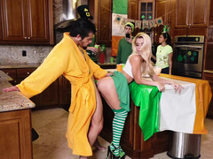 St Patricks Day fuck with a girl in green and white socks