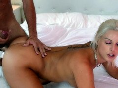 A blonde that has her thong on is getting her cunt licked