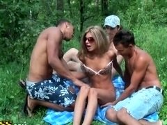 Hard foresome have an intercourse with skinny blonde