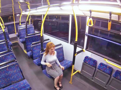 Hot blonde is giving head and besides having an intercourse on the bus