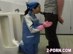 Flat-chested Asian genitor gal is fucked in the filthy toilet greedily
