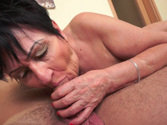 Granny places her mouth on a long & beefy hard sizeable pole