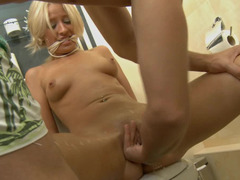 Kilted up blonde gets used by her kinky partner in the bathroom