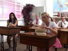 British Sluts Leah And besides Alexis Get Fucked In A Classroom