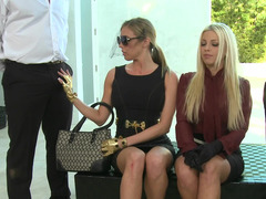 Two blonde women are in a foursome, jumping on the exposed cocks