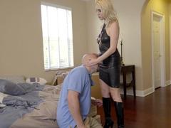 Hot blonde enjoys intense fuck with her bald boyfriend