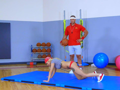 Sporty Marsha Might makes love the gym teacher and loves his dick