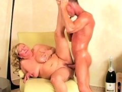 Breasty Blonde Granny Doggystyle
