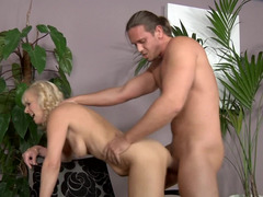 Hot cougar is praying on a young and plus fresh man and plus she is giving a blow job