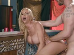 Porn star Alexis Fawx gets fucked hard in empty restaurant
