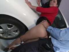 Cop makes love slutty eager mom Dayton Rains on the hood of his car