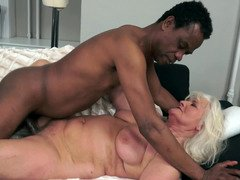 A granny that loves black love pole is having interracial sex here