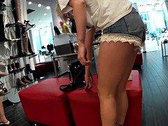 Shoeplay tight shorts butt jiggle(Playtime)