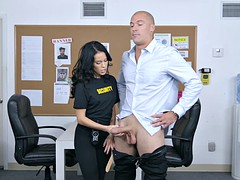 Petite bouncer Megan Rain inspects client's pants for concealed weapon