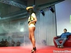 Hot stripper dancing and furthermore fingering her snatch